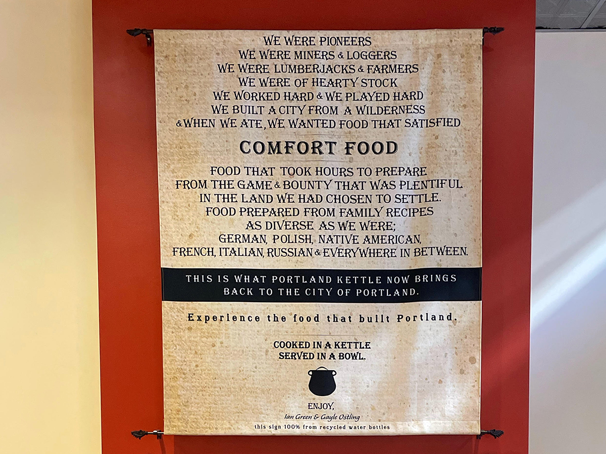 a sign telling about Portland Kettle in the restaurant